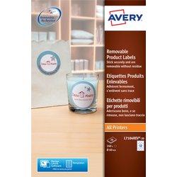 Etiket Avery L7104REV-20 60mm afneembaar wit 240stuks