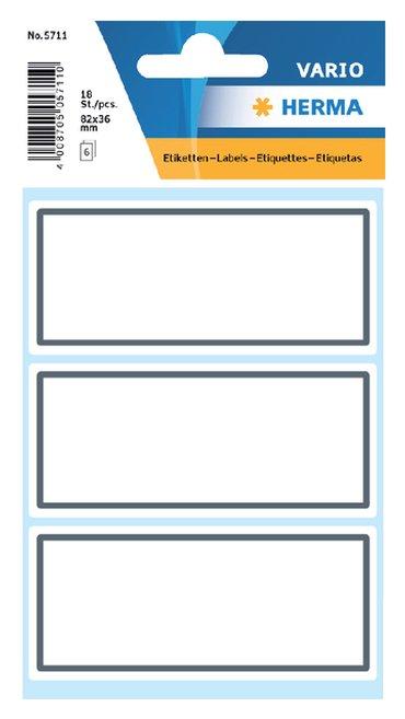 Etiket Herma 5711 36x80mm schrift grijs kader 18stuks