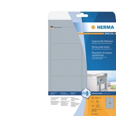 Etiket Herma 4223 96x50.8mm folie zilver 250stuks