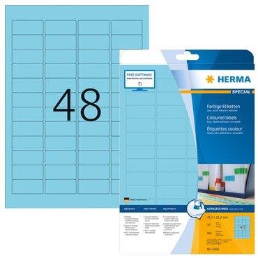 Etiket Herma 4368 45.7x21.2mm verwijderbaar blauw 960stuks