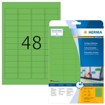 Etiket Herma 4369 45.7x21.2mm verwijderbaar groen 960stuks