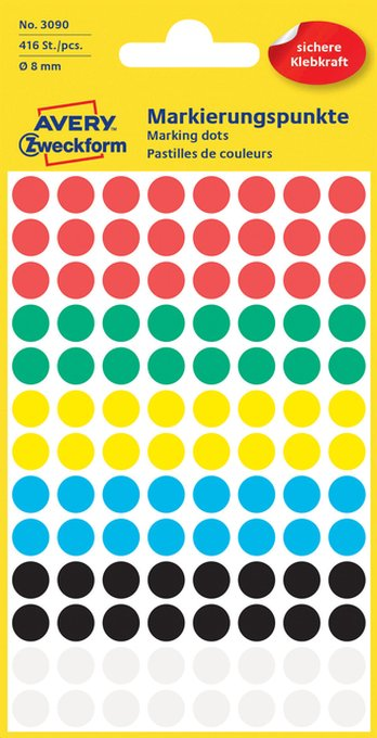 Etiket Avery Zweckform 3090 rond 8mm assorti 416stuks