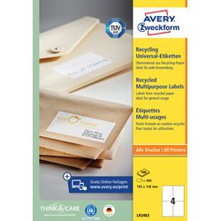 Etiket Avery LR3483 105x148mm A6 recycled wit 400stuks