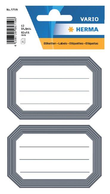 Etiket Herma 5719 82x55mm schrift grijze rand 12stuks