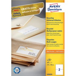 Etiket Avery LR3655 210x148mm A5 recycled wit 200stuks