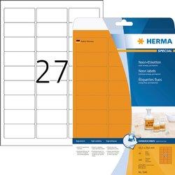 Etiket Herma 5141 63.5x29.6mm neonoranje 540stuks