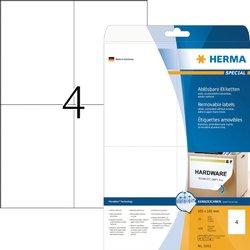 Etiket Herma 5082 105x148mm A6 verwijderbaar wit 100stuks