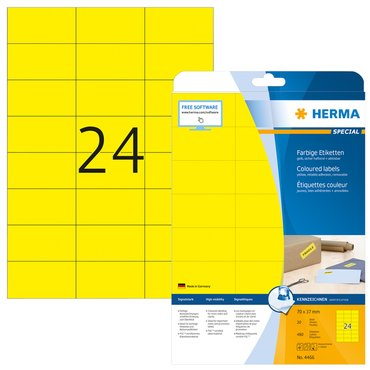 Etiket Herma 4466 70x37mm verwijderbaar geel 480stuks