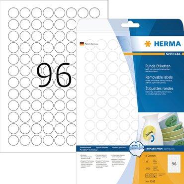 Etiket Herma 4386 rond 20mm verwijderbaar 2400st wit