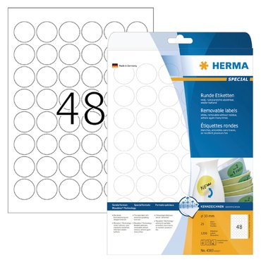Etiket Herma 4387 rond 30mm verwijderbaar wit 1200stuks