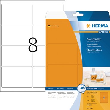 Etiket Herma 5145 99.1x67.7mm fluor oranje 160stuks