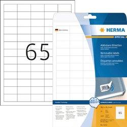 Etiket Herma 4212 38.1x21.2mm verwijderbaar wit 1625stuks