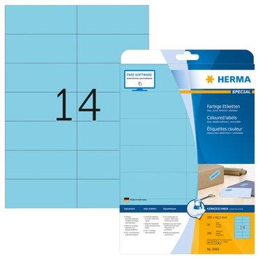 Etiket Herma 5060 105x42.3mm verwijderbaar blauw 280stuks