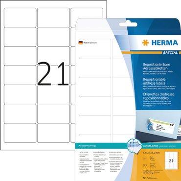 Etiket Herma 5074 63.5x38.1mm verwijderbaar wit 525stuks