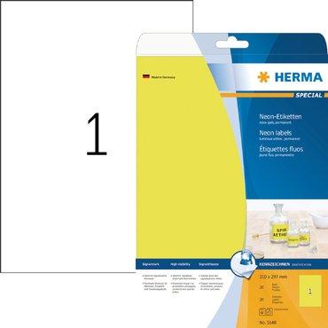 Etiket Herma 5148 210x297mm A4 fluor geel 20stuks