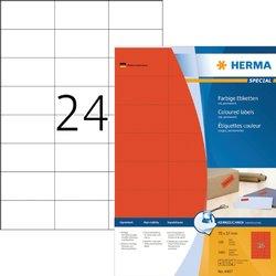 Etiket Herma 4407 70x37mm rood 2400stuks