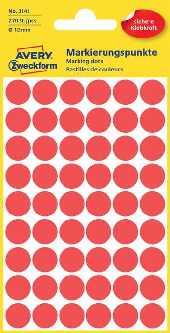 Etiket Avery Zweckform 3141 rond 12mm rood 270stuks