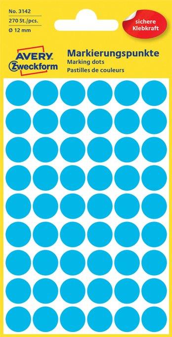 Etiket Avery Zweckform 3142 rond 12mm blauw 270stuks