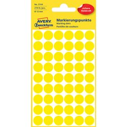 Etiket Avery Zweckform 3144 rond 12mm geel 270stuks