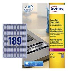 Etiket Avery L6008-20 25.4x10mm zilver 3780stuks
