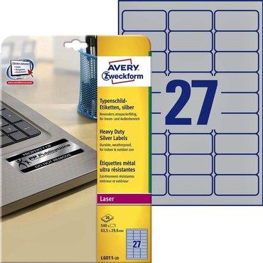 Etiket Avery L6011-20 63.5x29.6mm zilver 540stuk