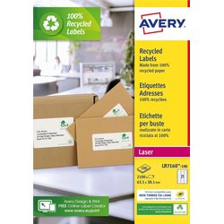 Etiket Avery LR7160-100 63.5x38.1mm recycled wit 2100stuks