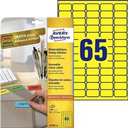 Etiket Avery L4793-20 38.1x21.2mm geel 1300stuks