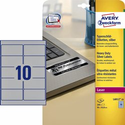 Etiket Avery Zweckform L6012-20 96x50.8mm zilver 200stuks