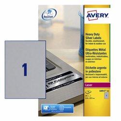 Etiket Avery L6013-20 210x297mm zilver 20stuks
