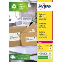 Etiket Avery LR7163-100 99.1x38.1mm recycled wit 1400stuks
