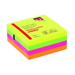 Memoblok Quantore 76x76mm neon kleuren assorti 4 kleuren