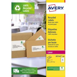 Etiket Avery LR7165-100 99.1x67.7mm recycled wit 800stuks