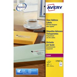 Etiket Avery L7562-25 99.1x33.9mm transparant 400stuks