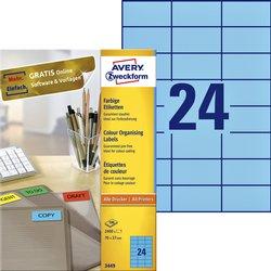 Etiket Avery Zweckform 3449 70x37mm blauw 2400stuks