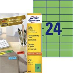 Etiket Avery Zweckform 3450 70x37mm groen 2400stuks