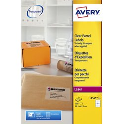 Etiket Avery L7565-25 99.1x67.7mm transparant 200stuks