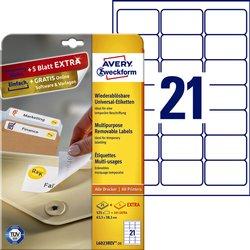 Etiket Avery L6023REV-25 63.5x38.1mm afneembaar wit 525stuks