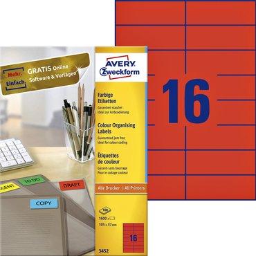Etiket Avery Zweckform 3452 105x37mm rood 1600stuks