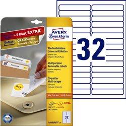 Etiket Avery L6031REV-25 96x16.9mm afneembaar wit 800stuks