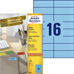 Etiket Avery Zweckform 3453 105x37mm blauw 1600stuks