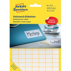 Etiket Avery Zweckform 3311 16x9mm wit 2646stuks