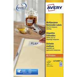 Etiket Avery L4743REV-25 99.1x42.3Mm afneembaar wit 300stuks