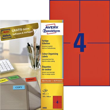Etiket Avery Zweckform 3456 105x148mm A6 rood 400stuks