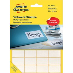 Etiket Avery Zweckform 3319 29x18mm wit 960stuks