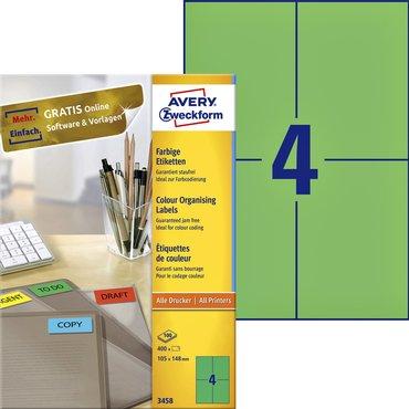 Etiket Avery Zweckform 3458 105x148mm A6 groen 400stuks