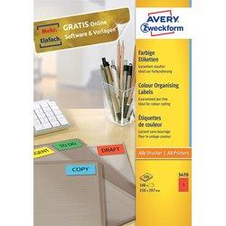 Etiket Avery Zweckform 3470 210x297mm A4 rood 100stuks
