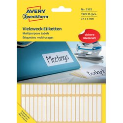 Etiket Avery Zweckform 3322 37x5mm wit 1976stuks