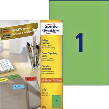 Etiket Avery Zweckform 3472 210x297mm A4 groen 100stuks
