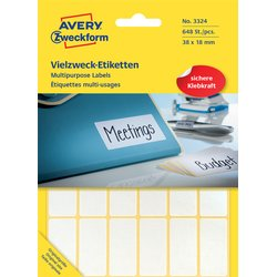 Etiket Avery Zweckform 3324 38x18mm wit 648stuks
