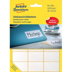 Etiket Avery Zweckform 3325 38x24mm wit 522stuks